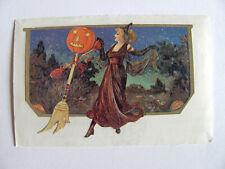 Rare Vintage Sandylion Victorian Halloween Witch Sticker - Crow Pumpkin