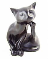 """Resin Black Cat Figurine Feng Shui Lucky Statue Sculpture Desk Paperweight 5"""""""