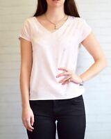 PLANET Pale Pink Top Silver Bead Short Sleeve V Neck Top | SALE | Was £29
