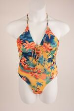03c156a1fe Zara Women s Swimsuit Bathing Suit One Piece Tropical Medium Eyelet Detail  NWT