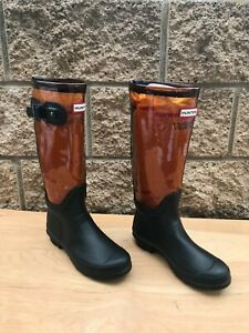 Hunter Original Tall Rain Boot , Clear Brown / Black , Sz US 7
