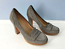 Talbots Gray Suede Leather High Heel Loafer Exellent 6 M Career *