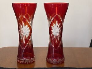 Red Glass Vase Retro Red Vase Ruby Glass Flower Vase Table Display Center Piece Solid Red Glass Flower Rimmed Mouth Quality Ruby Glass Vase