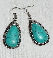 "Blue Turquoise Drop Dangle 2 1/4"" Silver Earrings NEW!"