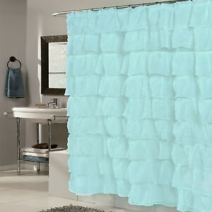 """Fabric Shower Curtain 70"""" x 72"""" Elegant Crushed Voile Ruffled Tier Spa Blue"""