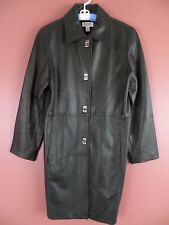 LTR0598- TALBOTS Womens Genuine Leather Coat Jacket Super Soft Black Sz S MINT