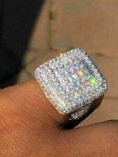 Твердого серебра 925 мужские хип-хоп репер большой тяжелый бриллиант кольцо квадратные Пинки ледяной