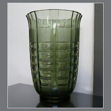 LUXVAL VASE n° 941 vert VAL ST LAMBERT ART DECO 1935 BELGIAN GLASS