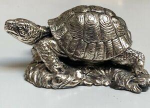 Vintage Sterling Silver~Signed Zanfeld Plata 999 Turtle Sculpture