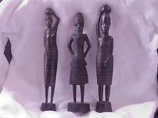 3 HandCarved Black African Tribal Ebony Wood Figure Man Woman Sculpture Tanzania