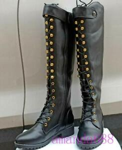 Women Cosplay Knight Boots Lace Up Medieval Knee High Biker Shoes Black Size 9.5