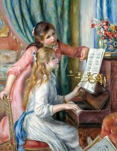 Renoir 1892, Two Young Girls at the Piano, Fade Resistant HD Art Print or Canvas
