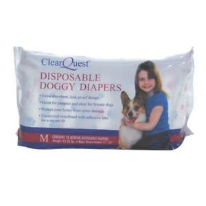 Clear Quest Disposable Doggy Diapers Dog Puppy Size: MEDIUM 10-ct NEW