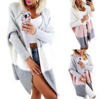 Women Winter Baggy Cardigan Coat Long Chunky Knitted Sweater Jumper Hooded Tops