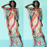 Womens Boho Dolman Batwing Sleeve Floral Beach Bikini Cover Up Loose Tunic Dress