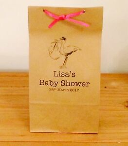 Personalised Paper Baby Shower Favour Bags/Gift/Christening/Party & Ribbon