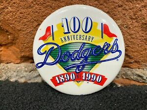 1890-1990 100 Years Anniversary Los Angeles Dodgers Vintage Button