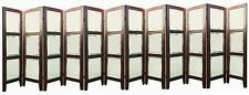 80s DESIGNER UPHOLSTERED FAUX LEATHER CHROME MIRROR 12 PANEL ROOM DIVIDER SCREEN