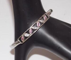Rhodium Plated Hinged Bangle Bracelet Pink Sparkling Glass Rhinestones 3b 31