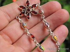Red Garnet & Created Opal 925 Solid Silver Bracelet #5621
