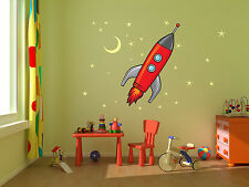 Rocket Ship, Stars and Moon kids room, nursery vinyl wall decals graphics 22x25""
