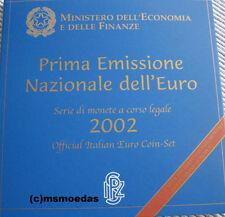 Italien Offizieller Kursmünzensatz KMS 2002 mit 1 Cent bis 2 Euro Münzen Blister