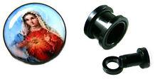 Pair 4g Acrylic Black Screw Tunnel Ear Plugs Virgin Mary Christian Religous