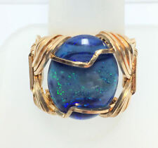 Handmade Genuine Opal 20x15 mm YGF Wire-Wrapped Ring Size 9.25
