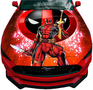 Deadpool With Knife Rifle Graphics Car Hood Wrap Vinyl Decal Full Color Sticker