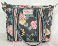 Original Cath Kidston Tote Lunch Hand Bag Charcoal Grey Roses Immaculate