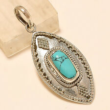 Natural Afghan Turquoise Pendant 925 Sterling Silver Artisan Fine Jewelry Gifts