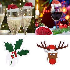 10pX Champagne Wine Glass Cup Caps Xmas Hat/Santa Christmas Party Decor Cute /D2