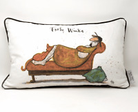 Sam Toft Forty Winks Cushion Pillow Cat & Dog Lovers 50x30cm Home Decor Gift
