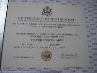 US ARMY HONORABLE DISCHARGE CERTIFICATE blank original for ...