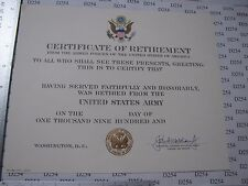 US ARMY RETIREMENT CERTIFICATE blank DD original for replacement Wickham signed