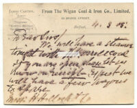 Belfast - Carter, agent for Wigan Coal & Iron Co - 1903 correspondence postcard