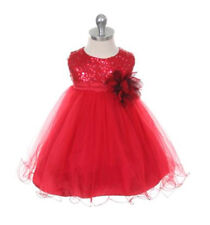 New Baby Infant Girls Red Dress Sequins Size 12-18 M Christmas Wedding Holidays
