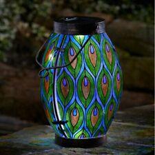 Smart Garden Peacock Feather Stained Glass Solar Lantern Light Gift