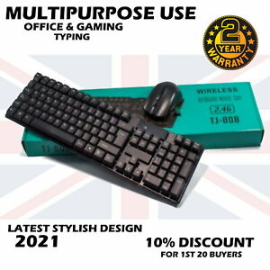 2.4GHz Wireless Gaming Gamer Keyboard And Mouse Combo Fit Desktop PC Laptop