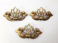 Vintage 3 KBC Drawer Pulls Cabinet Bail Handles Lotus Floral Brass N 18794 -2