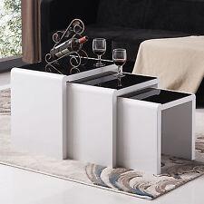 Modern Design High Gloss White + Black Glass Nest of 3 Coffee Table Living Room
