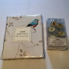 Avanti Gilded Birds Shower Curtain And Curtain Rings: Ivory Fabric Waterproof