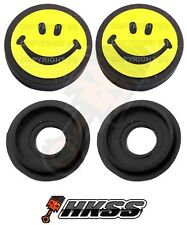 2 Black Custom License Plate Frame Tag Screw Cap Covers - SMILEY FACE YB Q22