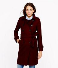 J. CREW BELTED ICON BURGUNDY TRENCH WOOL CASHMERE WINTER COAT SZ 2/AUS 8 $700+