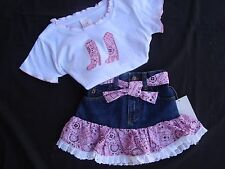 2pc PINK Bandana & Denim Western Cowgirl Skirt Set Size 2 NWT CUTE!