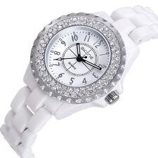 Skone Women Analog Quartz Watch Ceramic Band Crystal Wristwatch White
