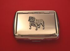 More details for english bulldog motif tobacco tin box man's gift pet vet christmas father gift