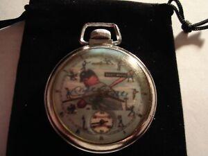1960s Ingraham Pocket Watch Baseball Micky Mantle Theme Dial & Case Runs Well.