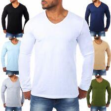 Carisma Herren Longsleeve Uni Basic langarm T-Shirt tiefer V-Ausschnitt stretch