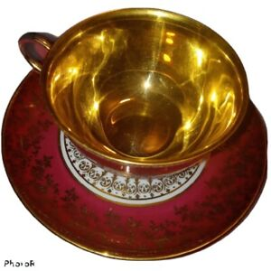 Maroon/Gold Porcelain  SCHOPE H & C Cup & Saucer Decorated with 24 Gold